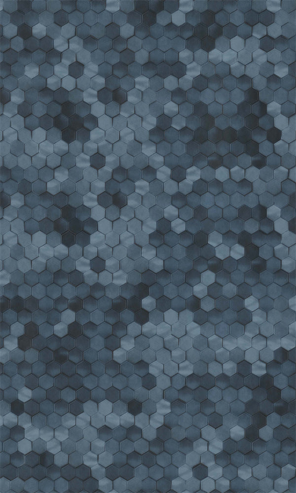 Royal Blue Shimmering Hexagon Wallpaper R5677