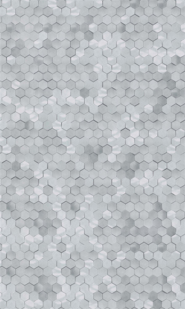 Cool Grey Shimmering Hexagons Wallpaper R5678