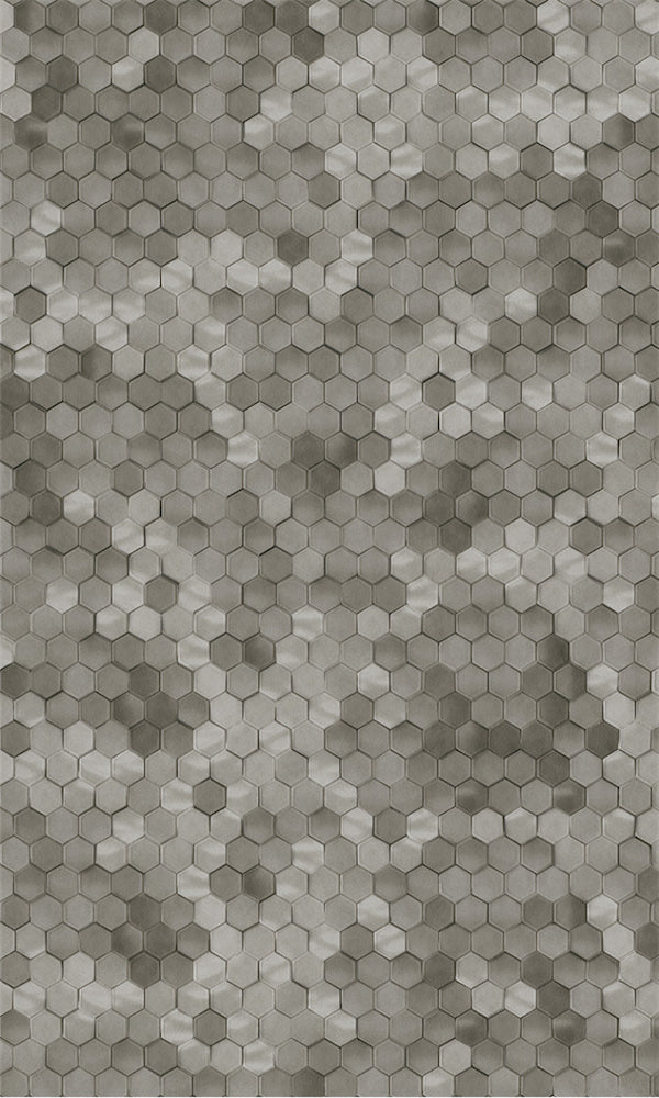 Neutral Brown Shimmering Hexagons R5684