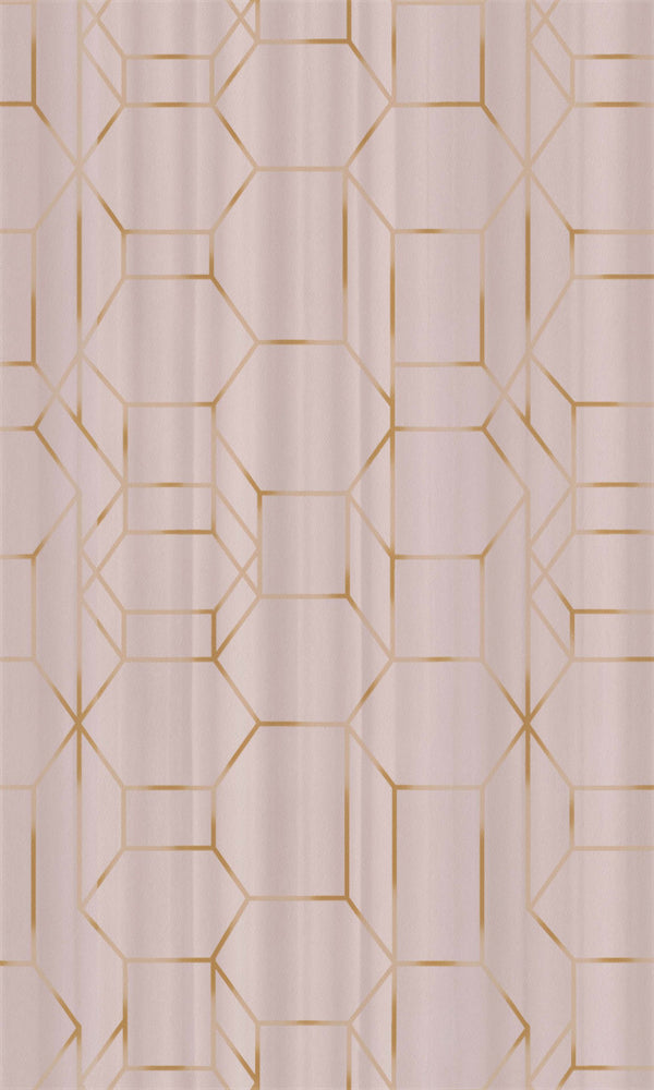 Pink & Gold Geometric Chain Wallpaper R5661 | Modern Home Wallcovering