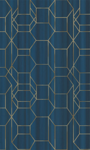 Blue & Gold Geometric Chain Wallpaper R5662 | Modern Home Wallcovering