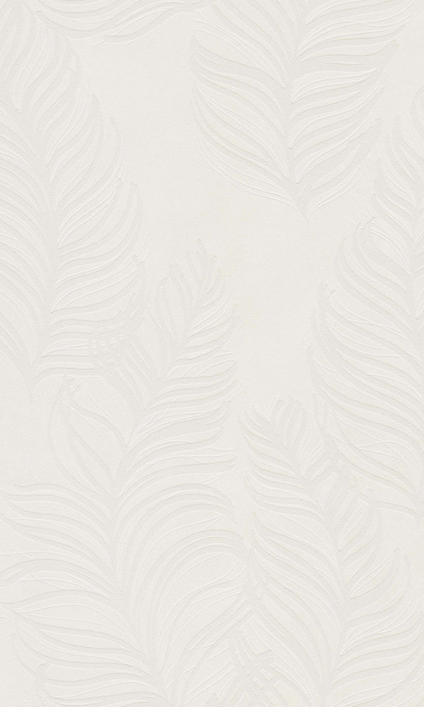 White Semiplume Feathers Metallic Wallpaper R5799