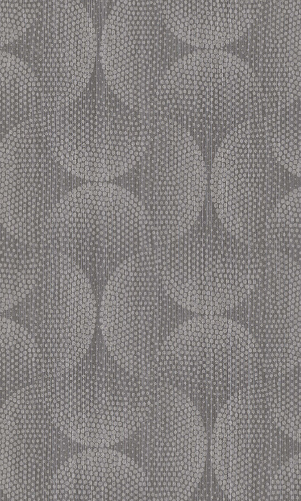 Dark Grey Dotted Interlocking Ovals Wallpaper R5810