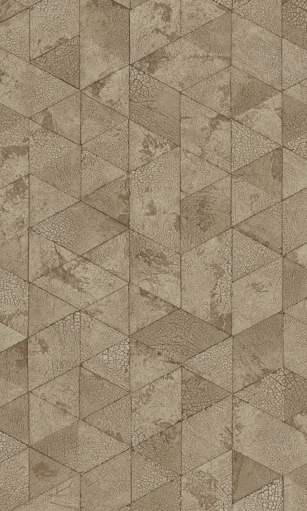 Brown  Cracked Geometrics Wallpaper R5746