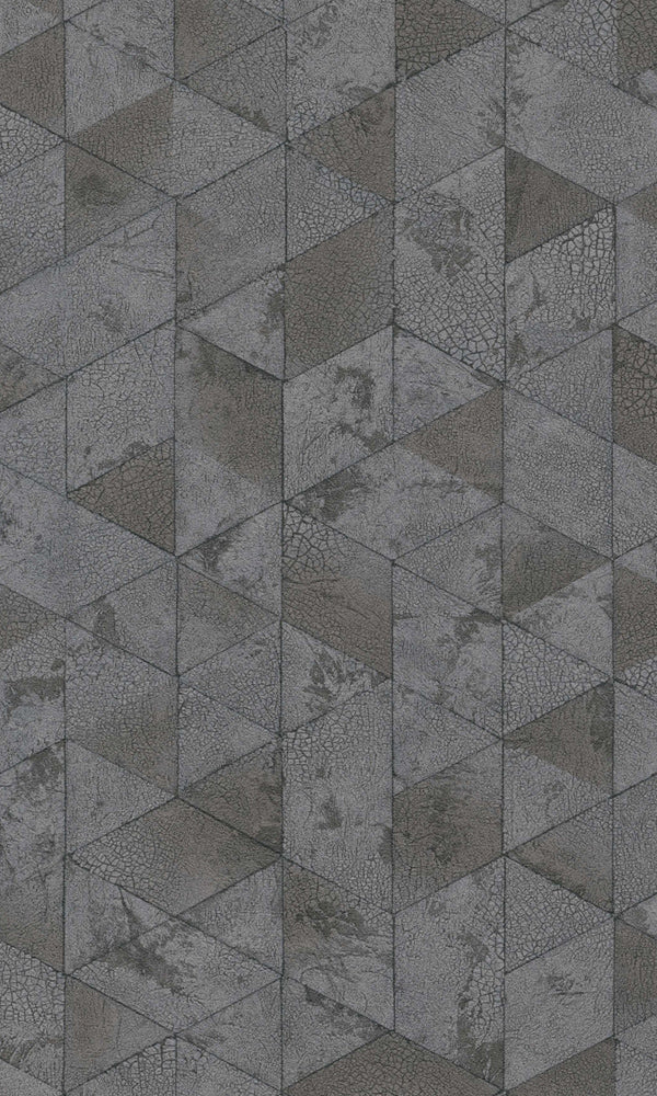 Dark Grey Cracked Raw Geometric Wallpaper R5747