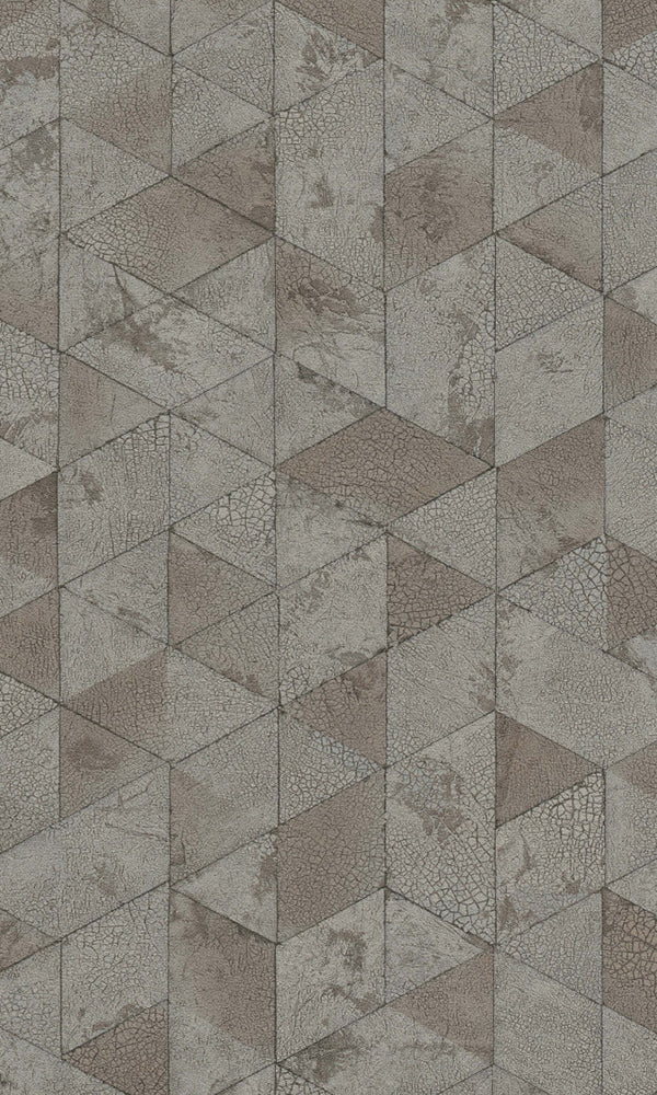 Brown & Blue Cracked Raw Geometric Wallpaper R5748