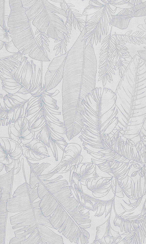 linen jungle tropical wallpaper White Tropical Leaves Wallpaper R6090 | Home Interior