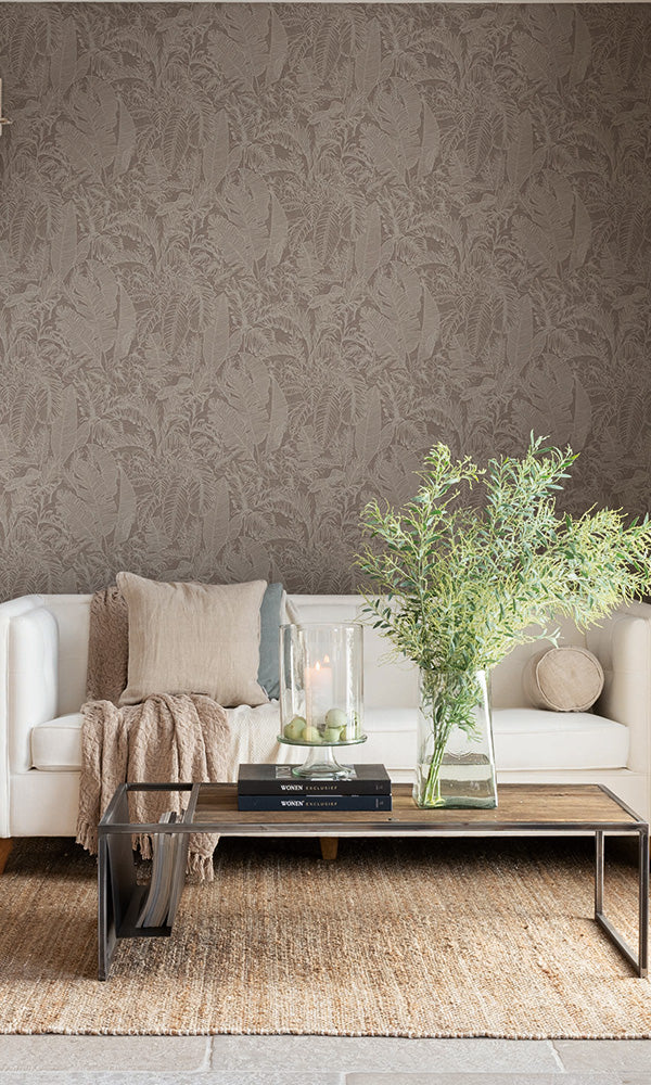 linen jungle tropical wallpaper