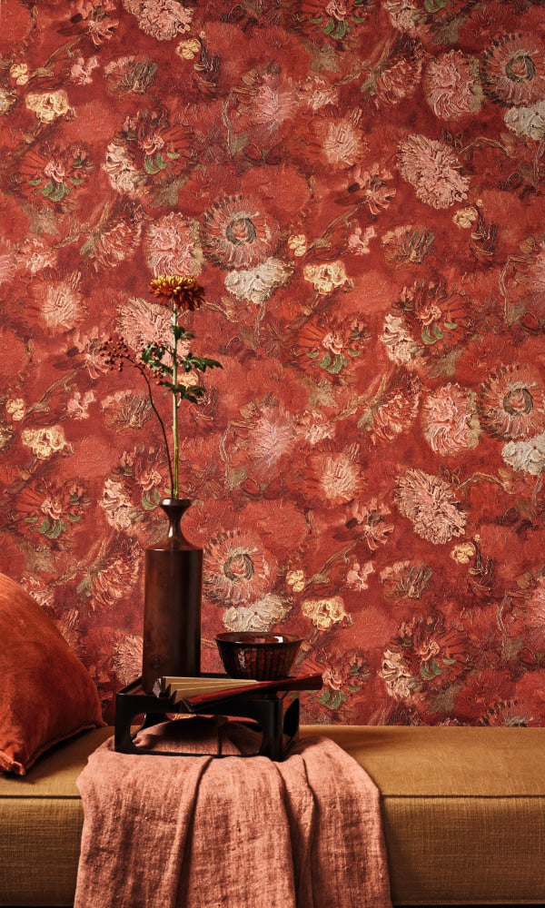 Red Van Gogh Oil Painted Flowers Wallpaper R6028. Red Wallpaper. Oil painted wallpaper. Floral wallpaper. Free sample wallpaper.