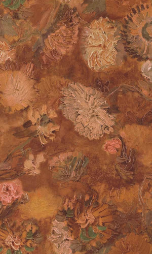 Van Gogh Oil Painted Flowers Mural Wallpaper R6030 | Ochre Nature-inspired Wallpaper, Bold Flower, free sample, floral wallpaper, best selling, non wooven