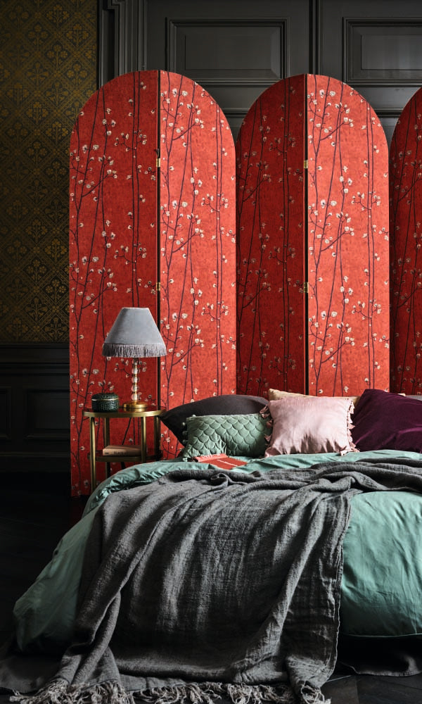 Van Gogh plum branches wallpaper, Bright Red Plum Branches Wallpaper R6015 | Floral Home Interior