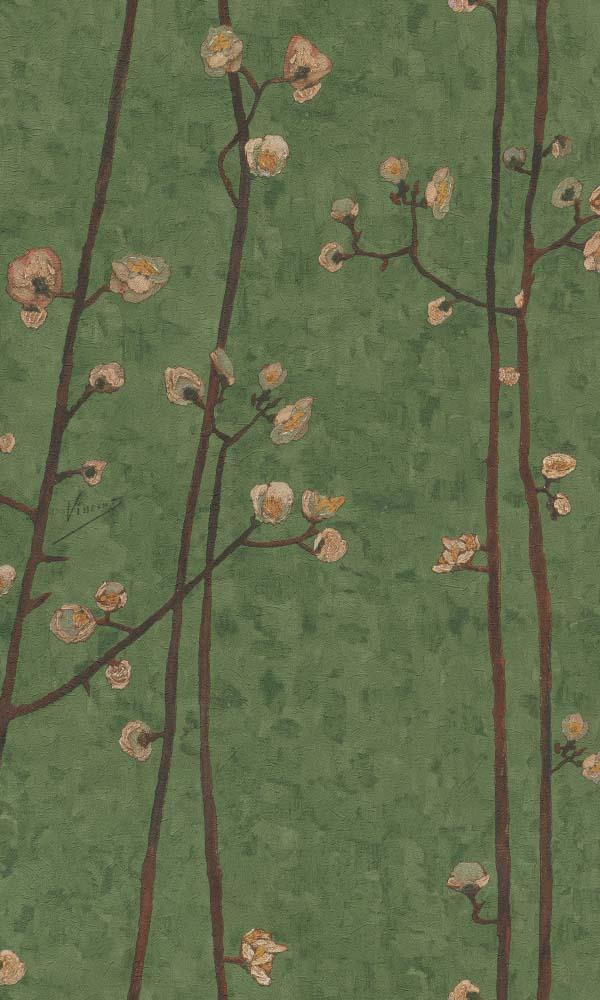 Van Gogh plum branches wallpaper