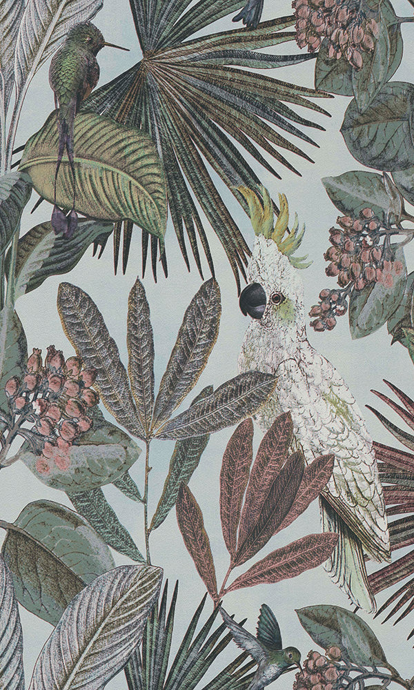 Baby Blue Tropical Paradise Mural R6039 | Contemporary Home Wallpaper, wild jungle forest wallpaper