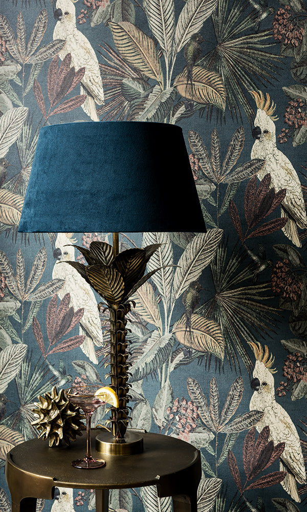 wild jungle forest wallpaper, Navy Blue Tropical Paradise Wallpaper R6041 | Nature-inspired Home Wall Covering