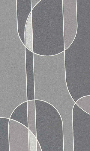 funky geometric transparent ovals wallpaper, Grey Funky Ovals Wallpaper R6081 | Retro Home Wall Covering