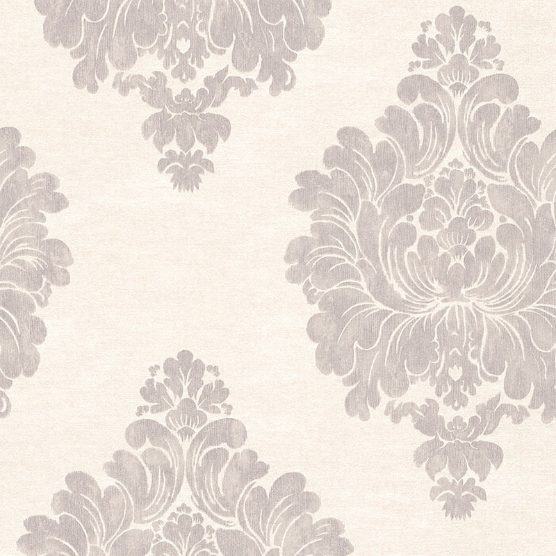 Grey Weathered Damask Wallpaper R3010 | Vintage Home Interior