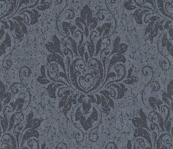 Metallic Damask Indigo Liberty Wallpaper R4065