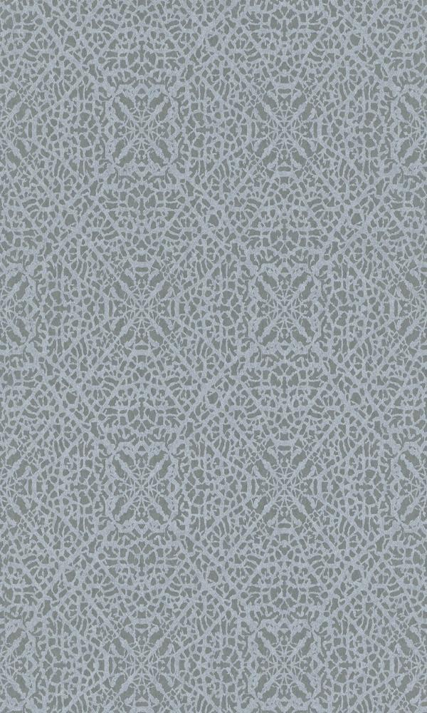 Contemporary Metallic Turquoise Arabesque Wallpaper R4040