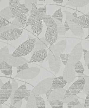 Transitional Metallic Grey Overleaf Wallpaper R4012