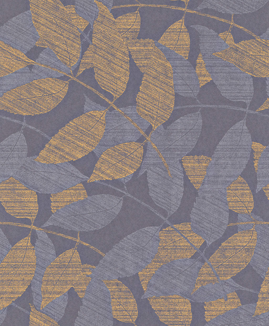 Transitional Metallic Purple and Gold Overleaf Wallpaper R4013