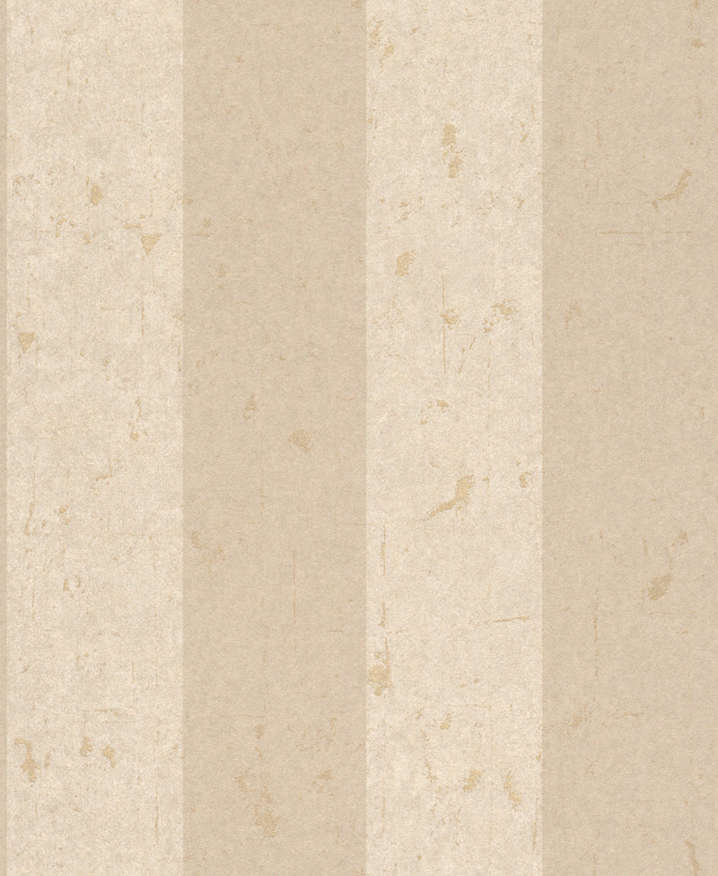 Metallic Weathered Stripes Wallpaper Beige and White R4743