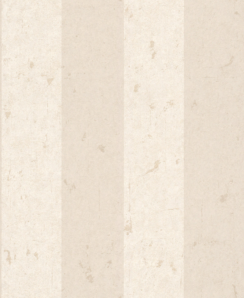 Metallic Weathered Stripes Wallpaper White and Taupe R4746