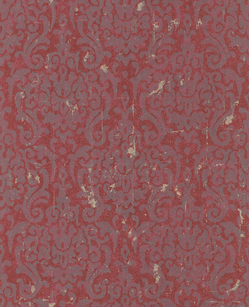 Metallic Weathered Damask Wallpaper Magenta and Purple R4747