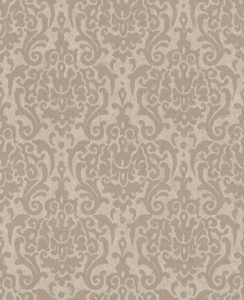 Metallic Weathered Damask Wallpaper Taupe and Beige R4748