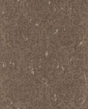 Metallic Weathered Damask Wallpaper Brown and Silver R4749