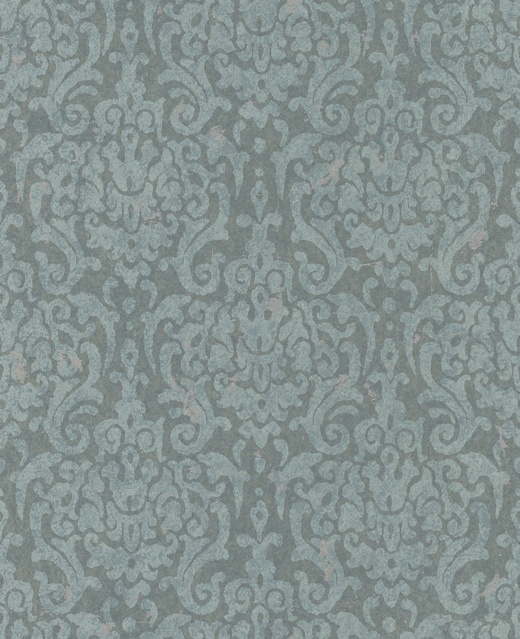 Metallic Weathered Damask Wallpaper Teal and Light Blue R4751