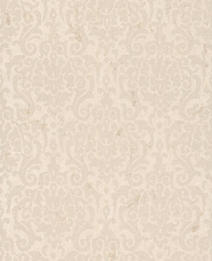 Metallic Weathered Damask Wallpaper Taupe and Beige R4752