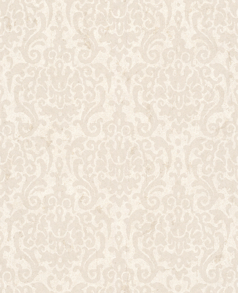Metallic Weathered Damask Wallpaper Beige and Taupe R4753