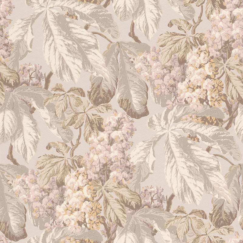 Diagonal Floral Cluster Beige and Baby Pink Wallpaper R4147