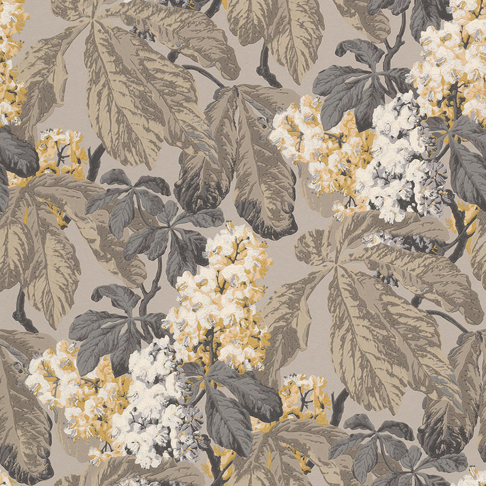 Yellow & Taupe Floral Wallpaper R4148 | Vintage Home Wallcovering