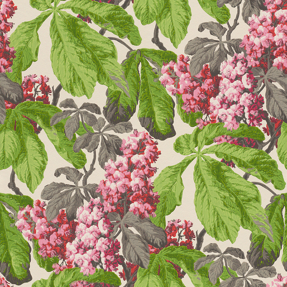 Diagonal Floral Cluster White And Pink Wallpaper R4145