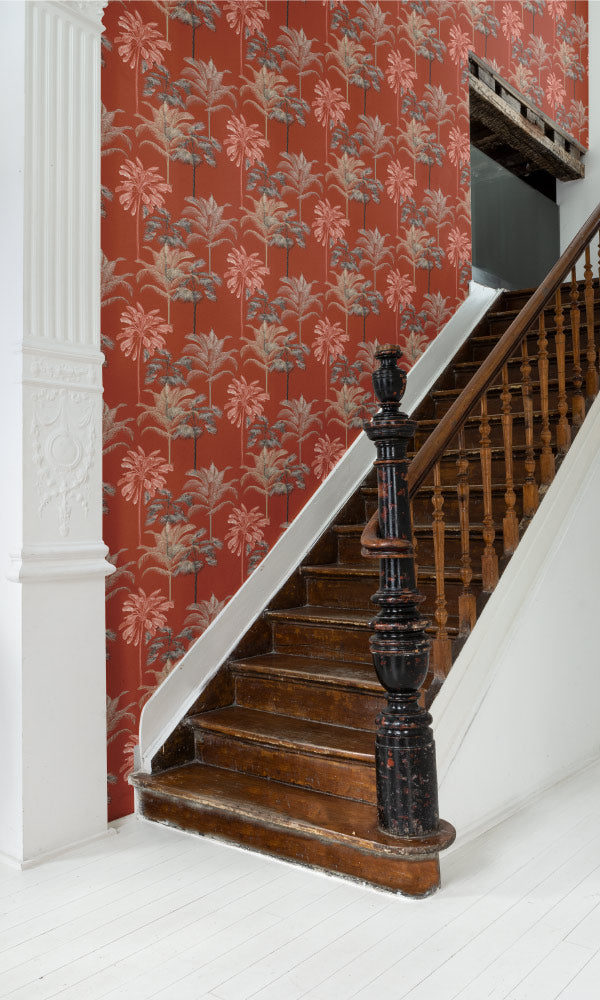 botanical stair case wallpaper ideas