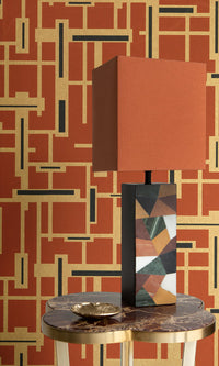 retro geometric home office wallpaper