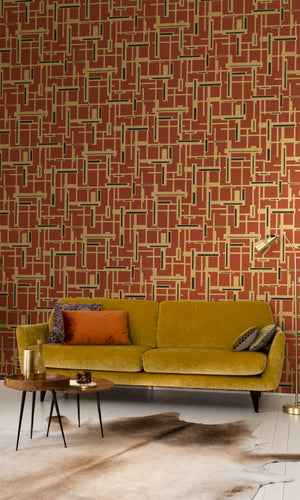 retro geometric living room wallpaper