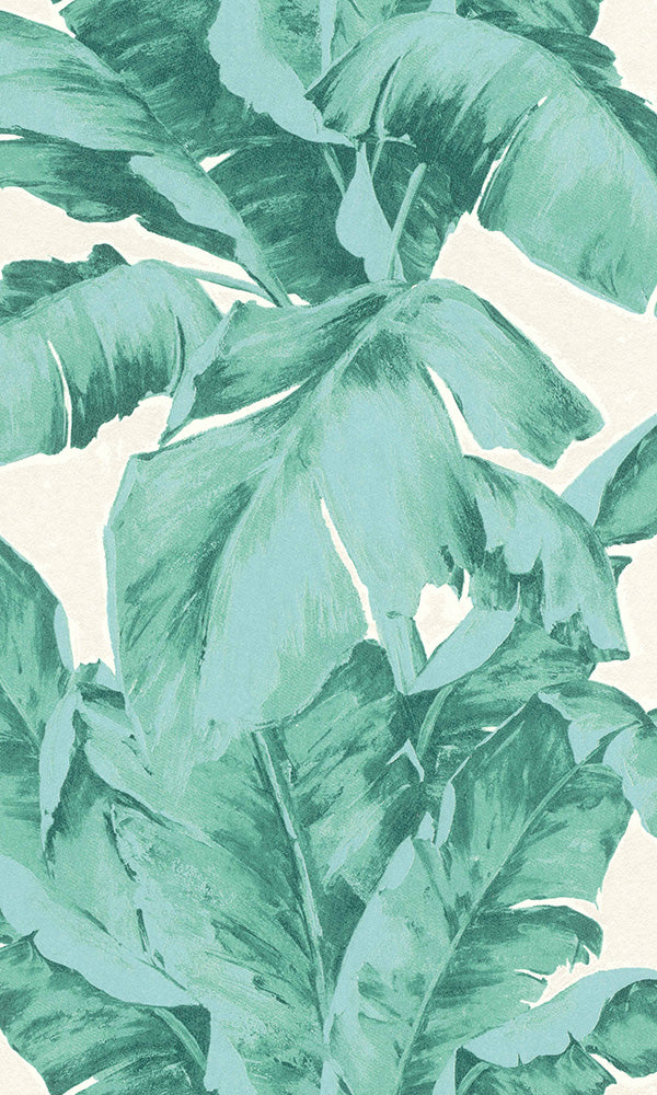 illustrated botanical leaf jungle wallpaper