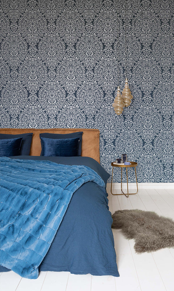 cracked damask wallpaper