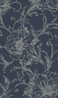 inked floral wallpaper