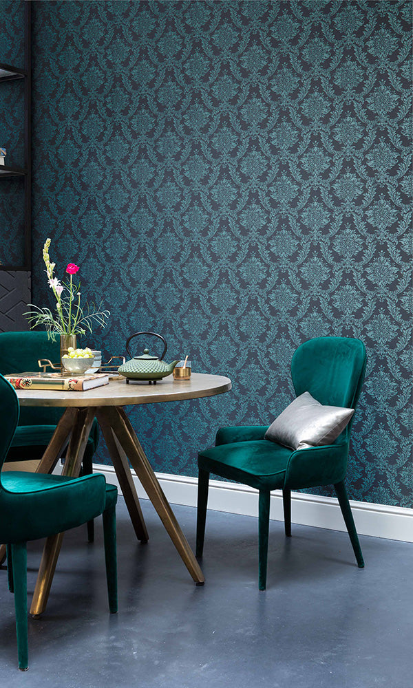 stamped damask wallpaper