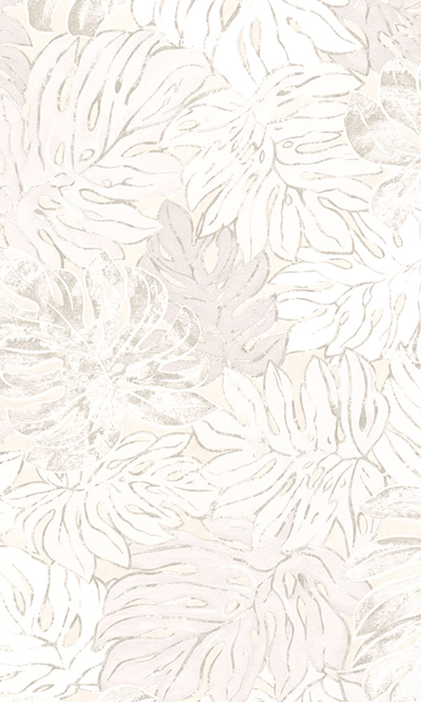 Beige Bold Overlaying Jungle Leaves Wallpaper R5917