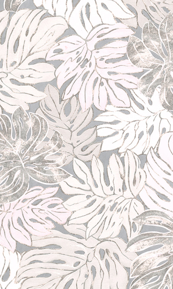 Blush Pink & Cool Grey Bold Overlaying Jungle Leaves Wallpaper R5918