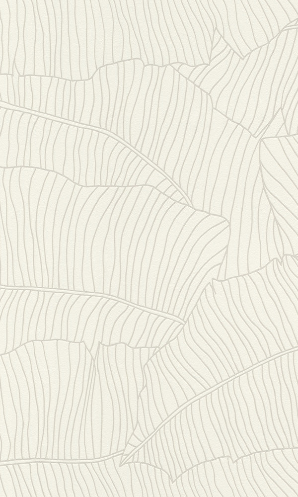 White Leaf Outline Abstract Wallpaper R6151