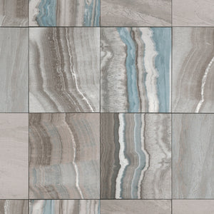 Marbled Tiles Contemporary Wallpaper Grey and Blue R4677