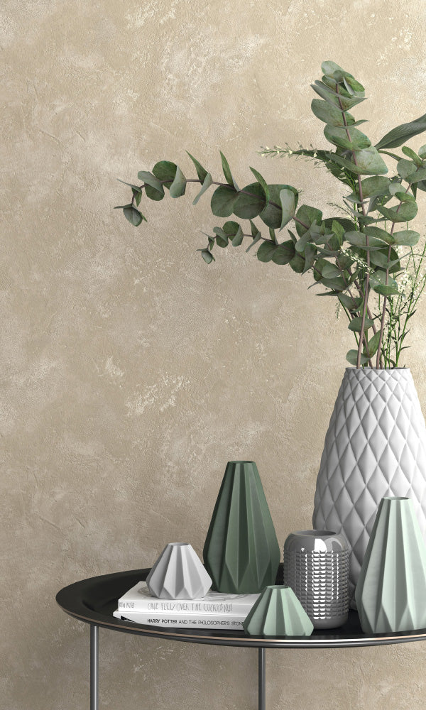 textured faux concrete living room wallpaper