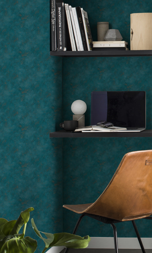 textured faux metallic concrete home office wallpaper