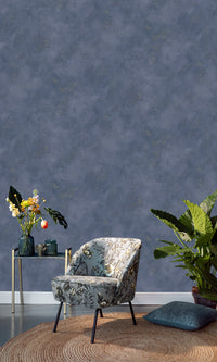 Faded Blue Textured Faux Metallic Concrete Wallpaper R6583