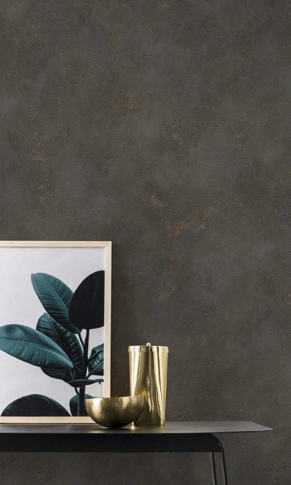 textured faux metallic concrete living room wallpaper